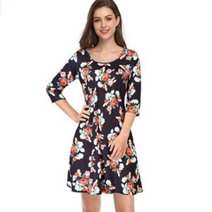 Women Pullover 3/4 Sleeve Pocket Loose Swing Dress